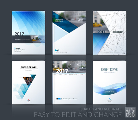 Illustration pour Brochure template layout, cover design annual report, magazine, flyer, leaflet in A4 with blue triangle, arrow, circle, ribbon with overlap effect for business and construction. Vector big mega set. - image libre de droit