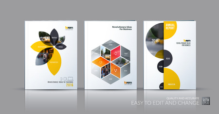Illustration pour Brochure template layout collection, cover design annual report, magazine, flyer in A4 with yellow grey flower petals shapes, rhombus, circle for business, nature. Abstract vector design set. - image libre de droit