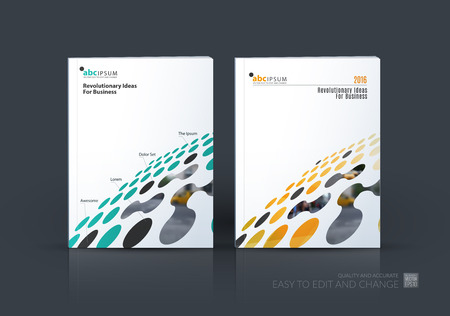 Illustration for Brochure template layout, cover design annual report, magazine, flyer in A4 with colourful perspective rounds, circles, dots, spots for business, finance, science, building. Abstract vector design - Royalty Free Image