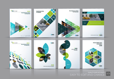 Illustration pour Business set. Brochure template layout, cover design annual report, magazine, in A4 with green flying triangles, square, circles, flower, polygons for science, teamwork. Abstract - image libre de droit