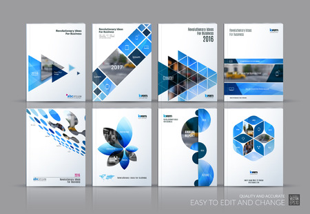 Illustration pour Business set. Brochure template layout, cover design annual report, magazine, in A4 with blue flying triangles, square, circles, flower, polygons for science, teamwork. Abstract - image libre de droit