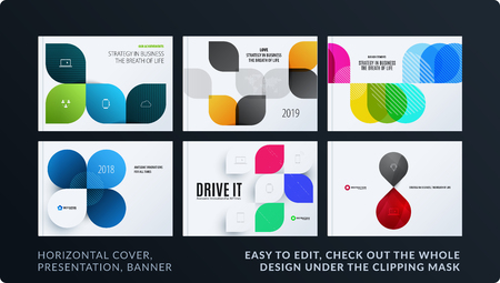 Illustration pour Presentation. Abstract vector set of modern horizontal templates with colourful wave rounded shapes for business, teamwork, tech, ecology. Clean web headers design collection. - image libre de droit