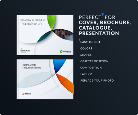 Ilustración de Material design presentation. Abstract vector set of modern horizontal templates with colourful circles intersections for business, teamwork, tech, ecology. Clean web headers. - Imagen libre de derechos