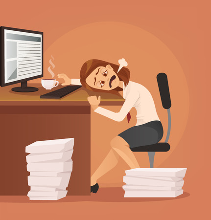 Illustration pour Hard work. Tired unhappy office worker woman character trying to work. Vector flat cartoon illustration - image libre de droit