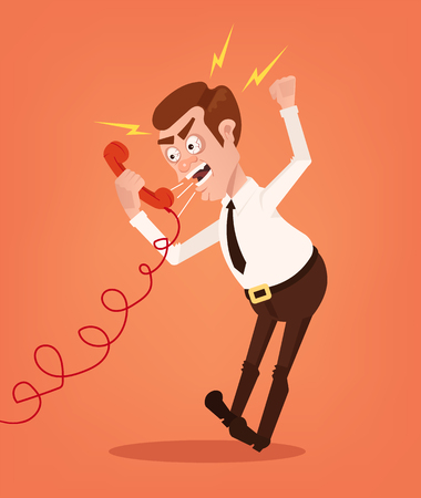 Illustration pour Angry businessman office worker consultant man character shouting and yelling on phone. Vector flat cartoon illustration - image libre de droit