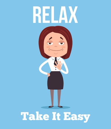 Calm and relax office worker business woman character. Vector flat cartoon illustration