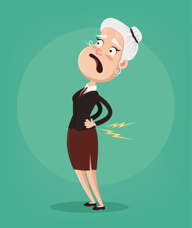 Illustration pour Old woman character have spine pain and problem. Vector flat cartoon illustration - image libre de droit