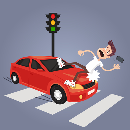 Illustration for Driver hit careless man character with phone by car. Road car drunk driver and careless pedestrian accident concept. Vector flat cartoon isolated illustration - Royalty Free Image