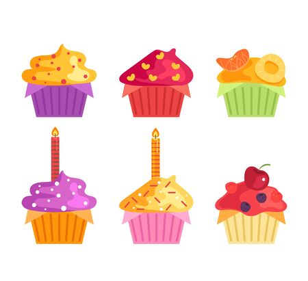 Illustration pour Sweet tasty isolated birthday cupcake set collection. Vector flat graphic cartoon illustration design - image libre de droit