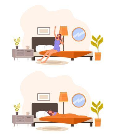 Illustration pour Morning and night set. Vector graphic design illustration - image libre de droit
