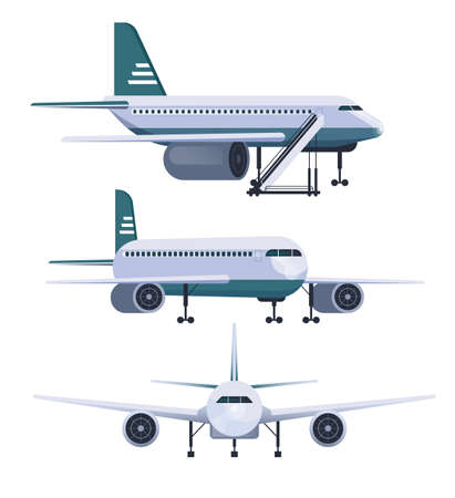 Illustration for Airplane different view isolated set. Vector flat graphic design cartoon illustration - Royalty Free Image