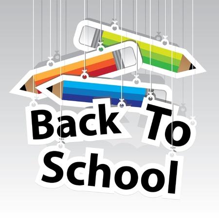 Illustration pour Back to School Paper Hanging Sign with Pencil paper hanging sign background -Vector - image libre de droit