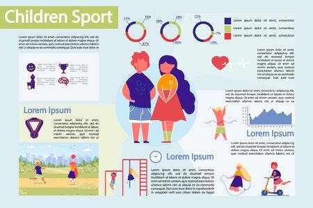 Ilustración de Children Sport Infographic Vector Infographic Set. - Imagen libre de derechos