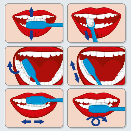 Correct tooth brushing vector infographics. Dental brushing  tooth and toothbrush using brushing, brushing banner illustration