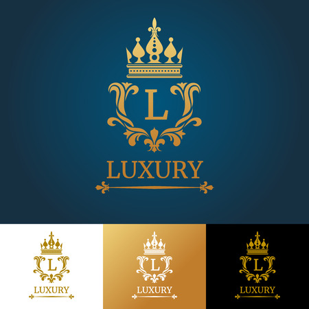 Ilustración de Monogram with crown. Royal design vector logo template. Royal monogram design and luxury classic monogram, template monogram letter illustration - Imagen libre de derechos