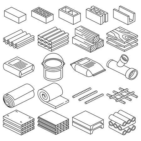 Building and construction materials linear icons. Construction building material, cement material and brick material illustration