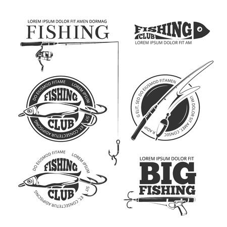 Ilustración de Vintage fishing vector labels, logos, emblems set. Hobby fishing logo and logotype fishing with spinning and float illustration - Imagen libre de derechos