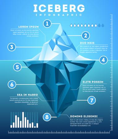 Illustration pour Vector iceberg infographic. Iceberg template business metaphor, financial info polygon iceberg illustration - image libre de droit