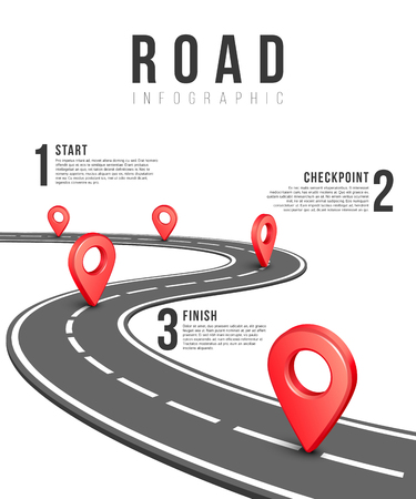 Illustration pour Road infographic vector template. Road information chart, creative traffic road infigraphic banner illustration - image libre de droit