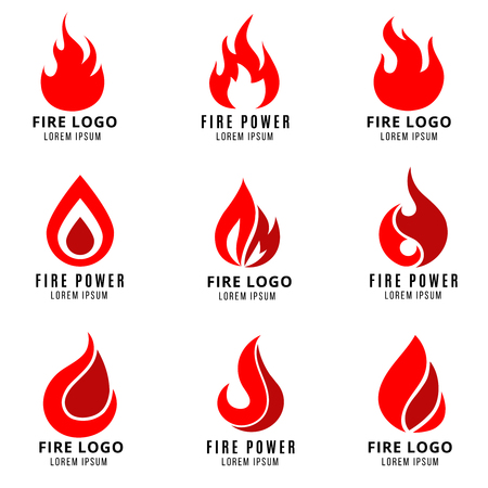 Illustration for Vector logo set with fire vector symbols. Fire logo icon and flame fire emblem illustration - Royalty Free Image