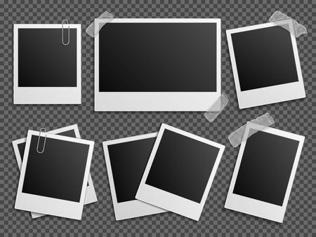 Illustration for Retro photo vector set. Polaroid frames for family album. Empty vintage photography card sets, vector illustration - Royalty Free Image