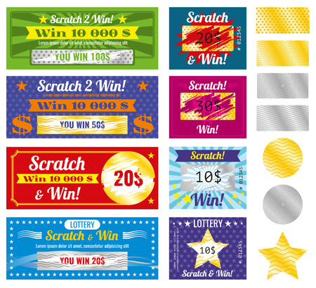 Illustration for Prize and luck lottery tickets. Lottery tickets with scratch effect on marks. Prize and luck, chance and win templates.  Vector illustration - Royalty Free Image
