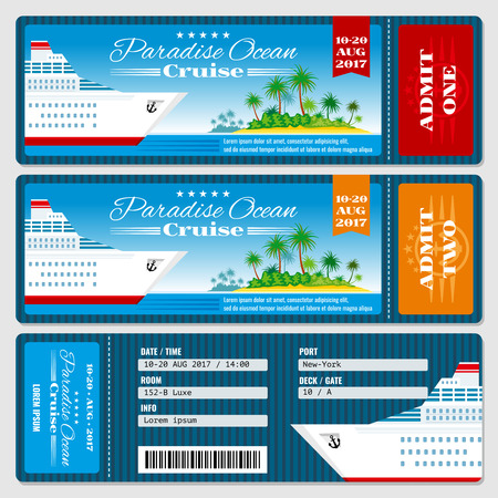 Illustration for Cruise ship boarding pass ticket. Honeymoon wedding cruise invitation vector template. Travel ticket to sea or ocean cruise ship - Royalty Free Image