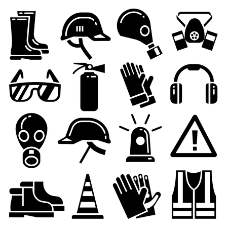 Illustration pour Personal protective equipment vector icons set. Helmet protection, mask and glove for work and protection illustration - image libre de droit