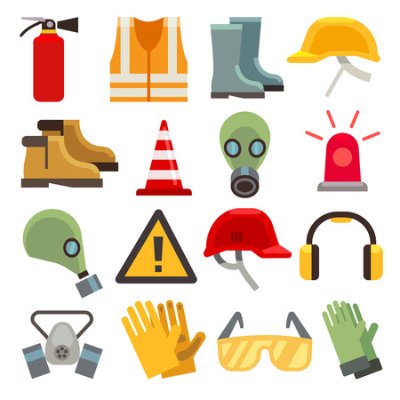 Illustration for Safety work flat vector icons set. Workwear for safety, shoe and glove safety clothing, helmet and extinguisher illustration - Royalty Free Image