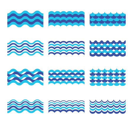 Illustration pour Marine, sea, ocean waves vector set. Sea water wave element, design wave ocean for web design illustration - image libre de droit