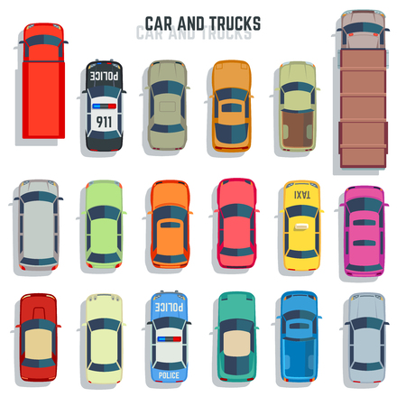 Illustration pour Cars and trucks top view flat vector icons. Set of car and sedan car for transportation illustration - image libre de droit