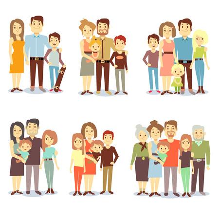 Illustration pour Families different types flat vector icons. Set of happy family, illustration of groups different families - image libre de droit
