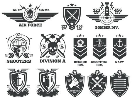 Illustration pour Vintage military labels and patches. Emblem and military badge, patch insignia for army and military air force illustration - image libre de droit