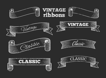 Illustration pour Hand drawn vector retro ribbon banners on blackboard. Set of template vintage elements illustration - image libre de droit