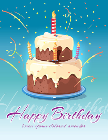 Illustration pour Happy birthday background with tasty cake and candles vector illustration. Card for invitation and congratulation - image libre de droit
