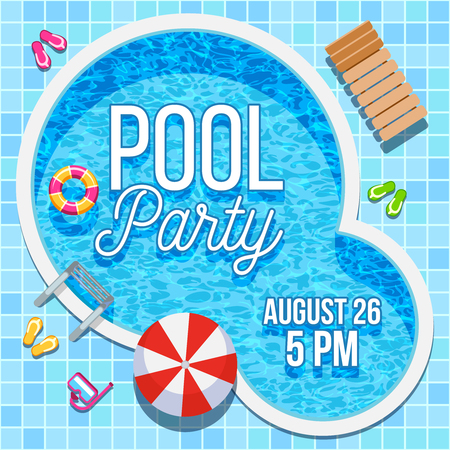 Ilustración de Summer pool party invitation with nobody water swimming pool vector background - Imagen libre de derechos