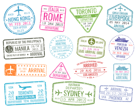 Ilustración de International business travel visa stamps vector arrivals sign. Set of variety rubber stamp city illustration - Imagen libre de derechos