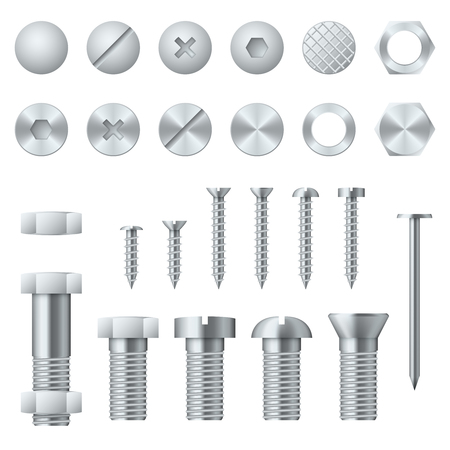Illustration pour Screws, bolts, nuts, nails and rivets for fastening and fixing. Vector illustration design elements - image libre de droit