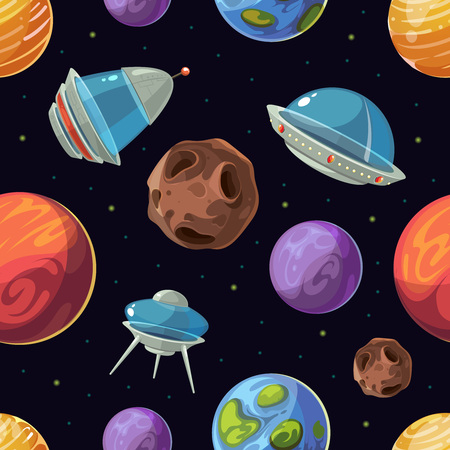 Illustration for Cartoon space with planets, spaceships, ufo vector seamless background. Exploration galaxy in computer game illustration - Royalty Free Image