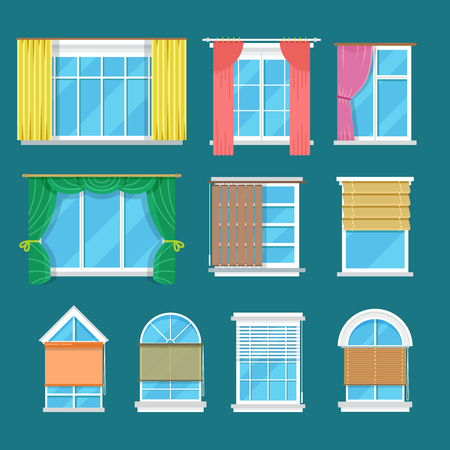 Flat vector window with curtains, drapery and shades blinds. Modern decor and interior for room illustration