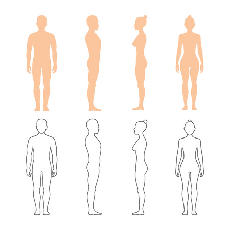 Photo pour Male and female human vector silhouettes. Man and woman bodies illustration - image libre de droit