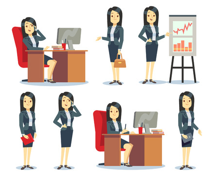 Office businesswoman in various situations vector characters cartoon