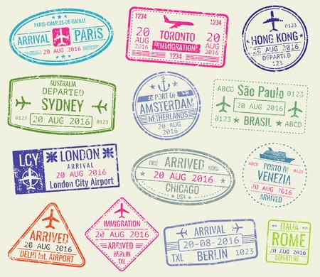 Illustration pour International travel visa passport stamps vector set. Paris and toronto, hong kong and port of amsterdam illustration - image libre de droit