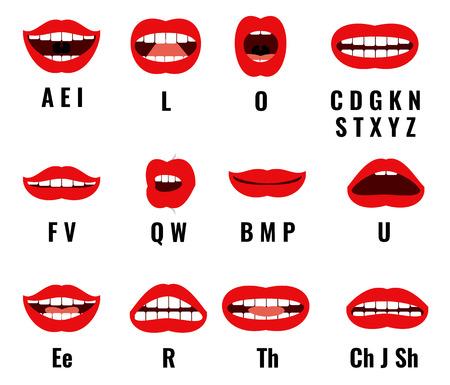Illustration pour Cartoon character mouth and lips sync for sound pronunciation. Vector set animation frames. Teaching talk letters illustration - image libre de droit