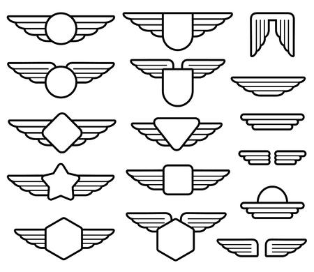 Illustration pour Wing army emblems, aviation badges, pilot labels line vector set. Shield with wings insignia illustration - image libre de droit