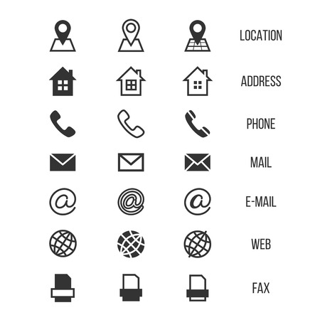 Illustration pour Business card vector icons, home and phone, address and telephone, fax and web, location symbols. Contact of telephone for communication illustration - image libre de droit