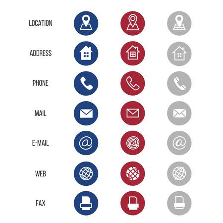 Ilustración de Vector symbols for business card isolated on white background. Communication element email and telephone illustration - Imagen libre de derechos