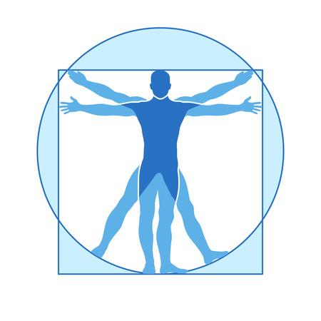 Illustration pour Human body vector icon of vitruvian man. Famous leonardo da vinci image vitruvian man, classic proportion form man illustration - image libre de droit