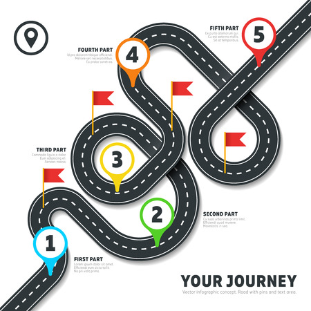 Illustration pour Navigation winding road vector way map infographic. Roadmap business info, plan road map for business illustration - image libre de droit
