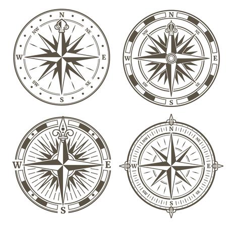Illustration pour Vintage nautical compass signs vector set, retro direction symbols. Collection of vintage compass, illustration of compass silhouette with wind rose - image libre de droit